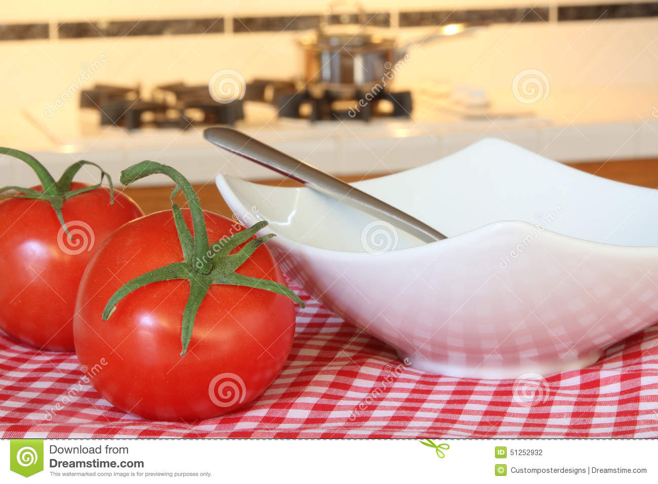 Download Tomatoes And A Soup Bowl With A Cooking Pan In The Background. Stock Photo - Image of home, lunch: 51252932