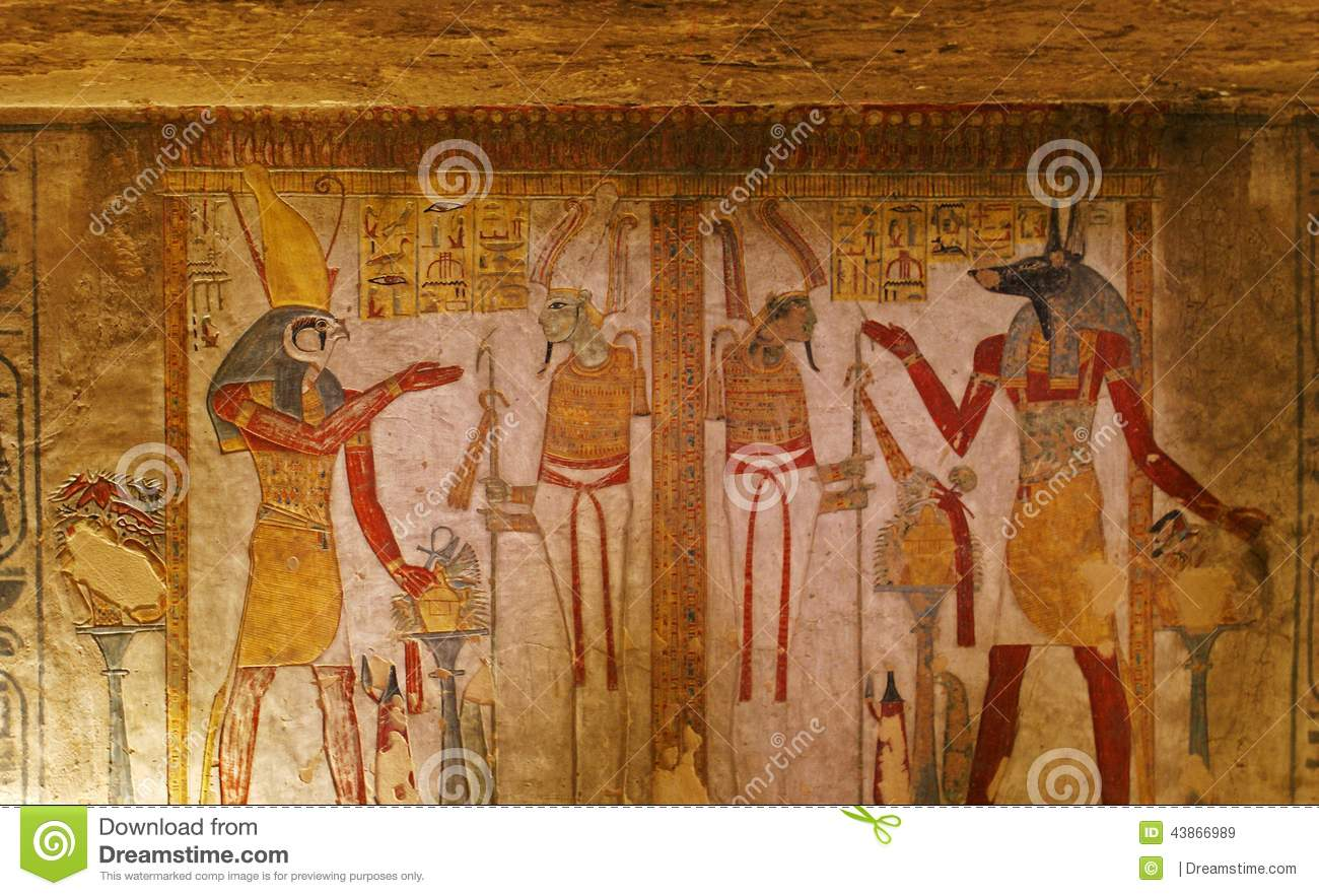 Tomb painting in the valley of the kings stock image for Egyptian fresco mural painting