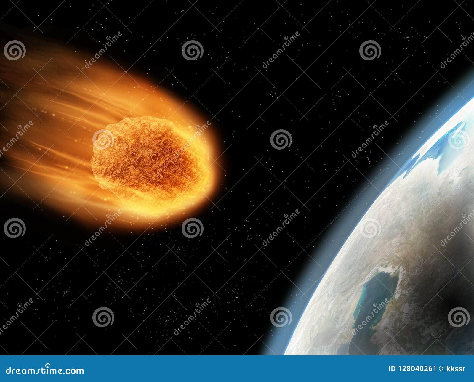 Tombant vers le bas, tiré par gravitation, son début extérieur obtenant brûlé Conce d Armageddon
