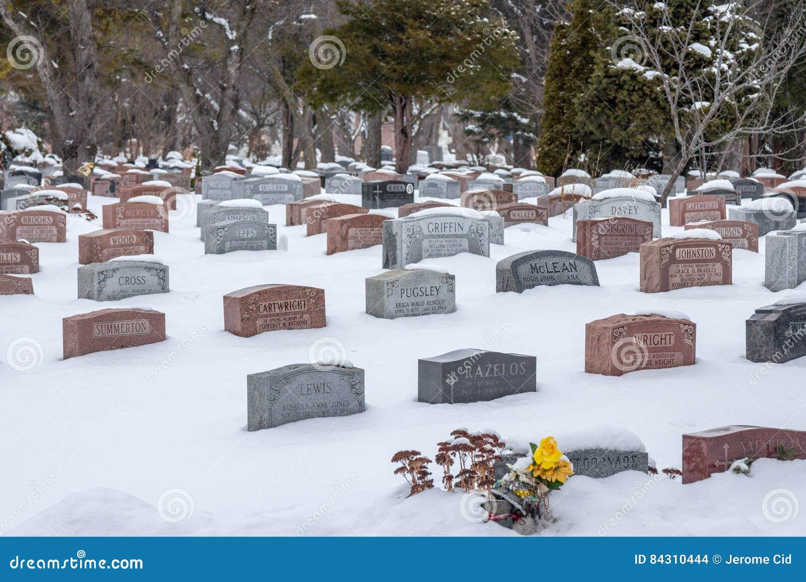 Tombes dans le cimetière royal de bâti sous la chute de neige importante, Montréal, Québec, Canada