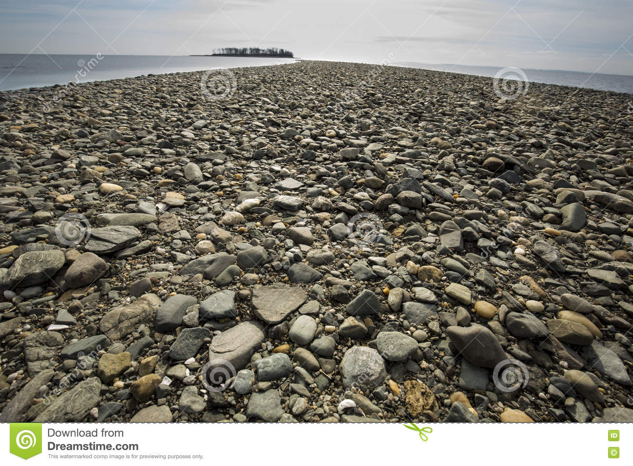 Tombolo of gravel at Silver Sands beach, Milford, Connecticut.