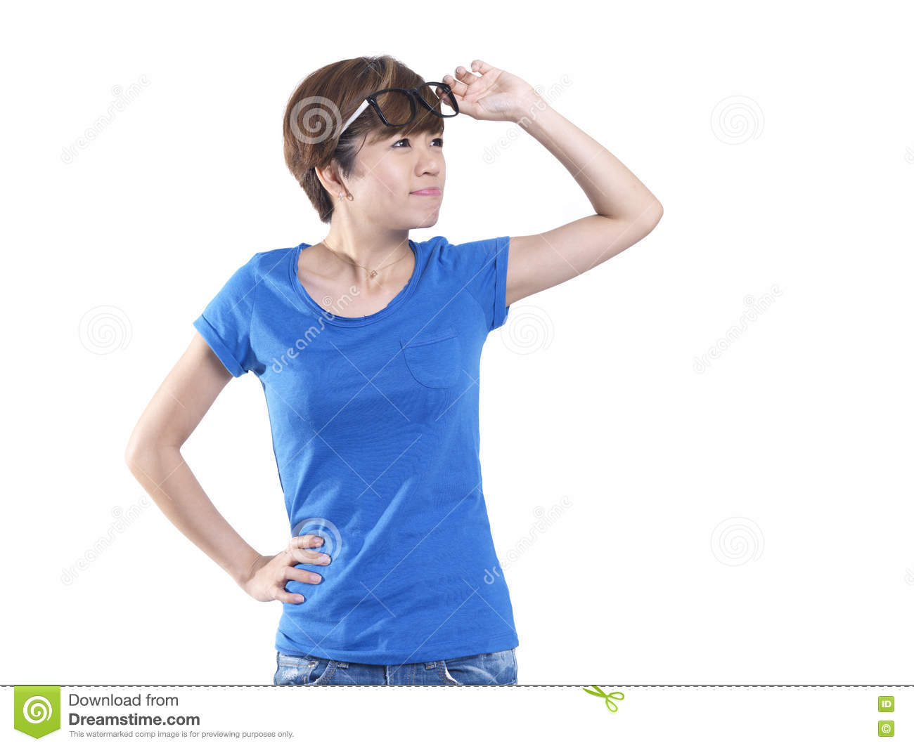 tomboy looking asian chinese girl lifting her spectacles stock photo