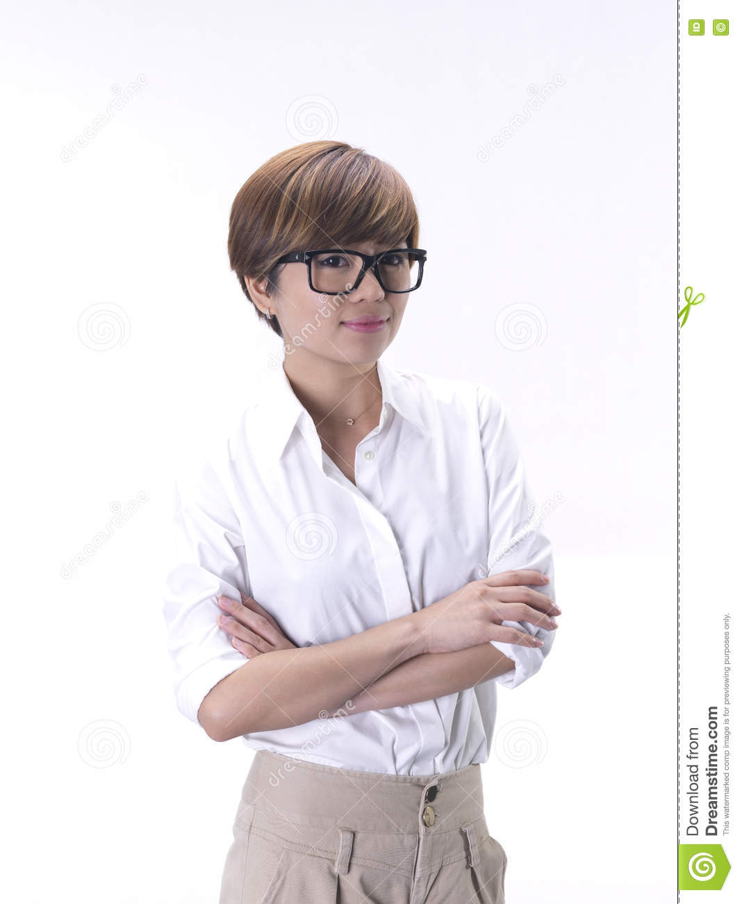 tomboy looking asian girl in smart outfit stock image image of