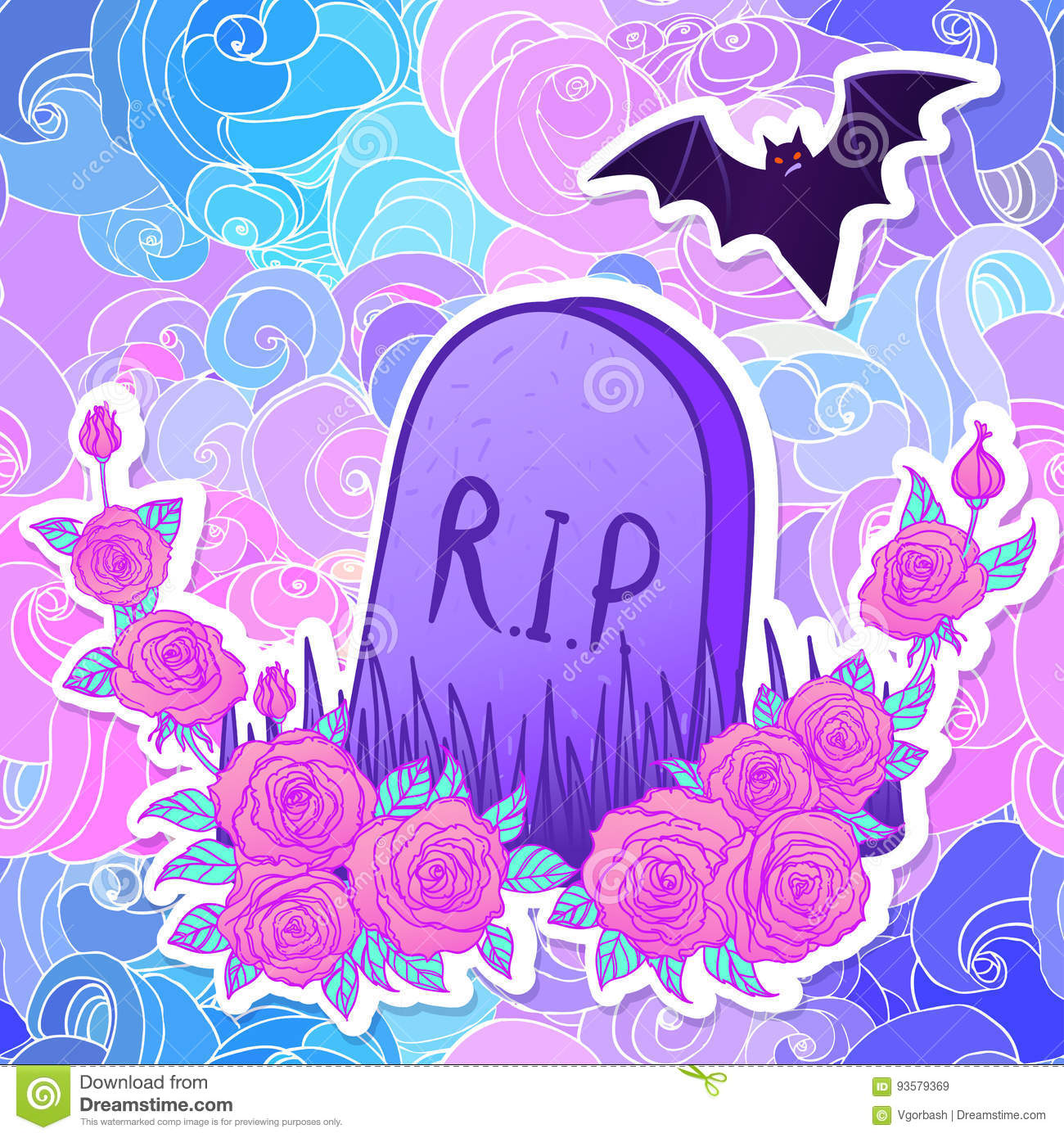 Best Wallpaper Halloween Pastel - tombstone-bat-roses-glamour-halloween-background-neon-past-pastel-colors-cute-gothic-style-colorful-rainbow-concept-93579369  Trends_936940.jpg