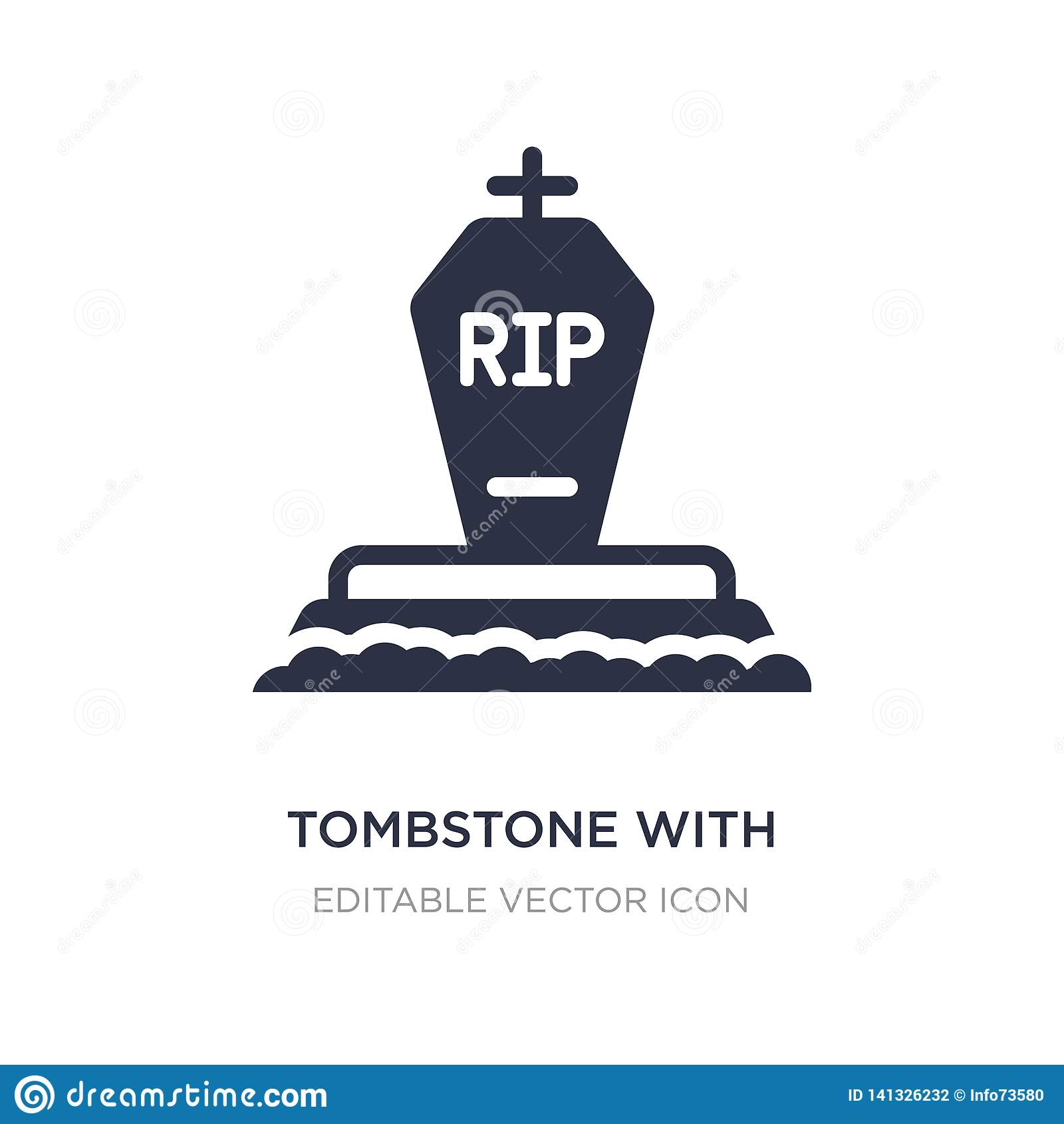 tombstone with cross icon on white background. Simple element illustration from Other concept