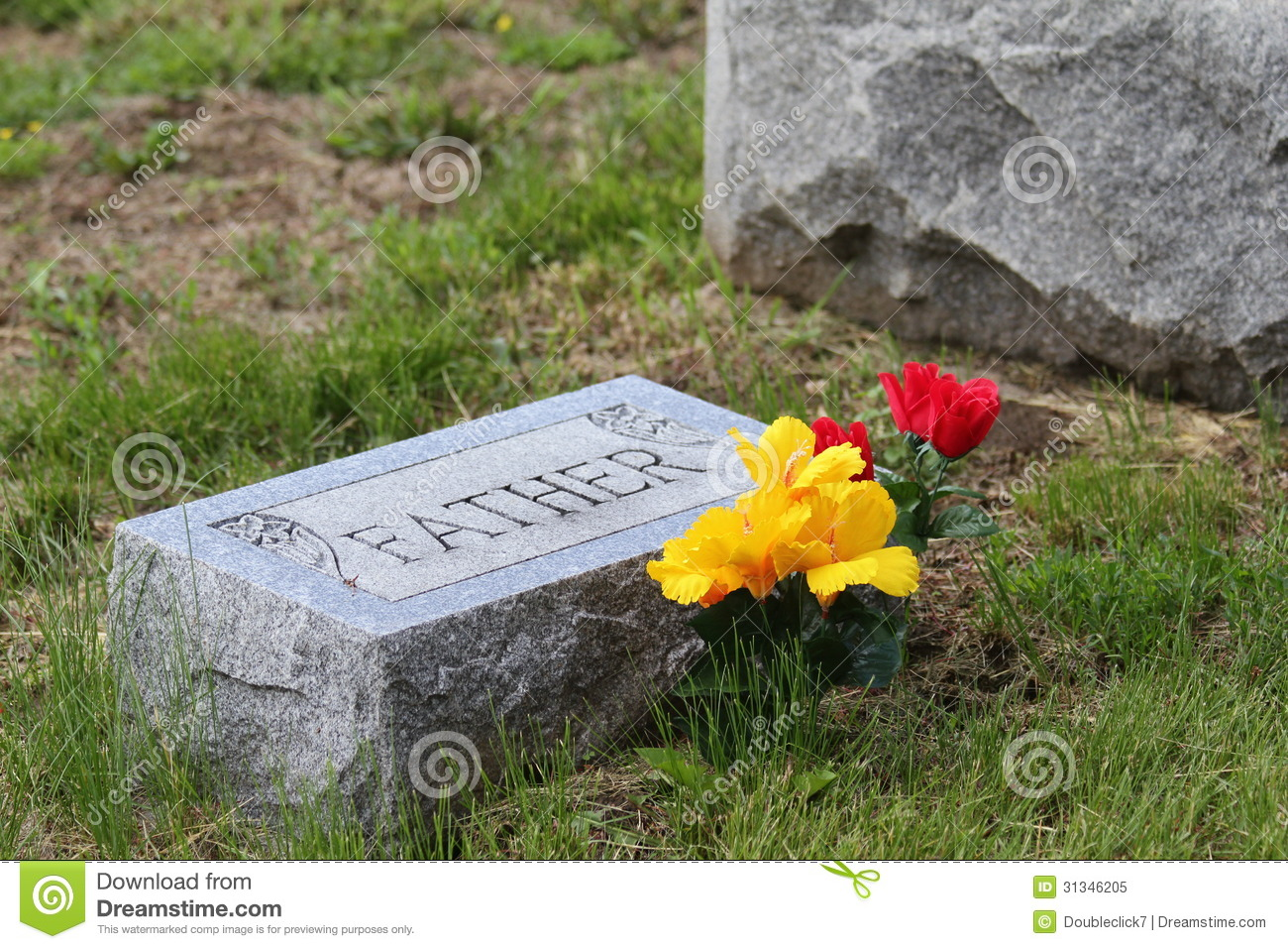 Tombstone With Father And Flowers Royalty Free Stock Photo - Image ...