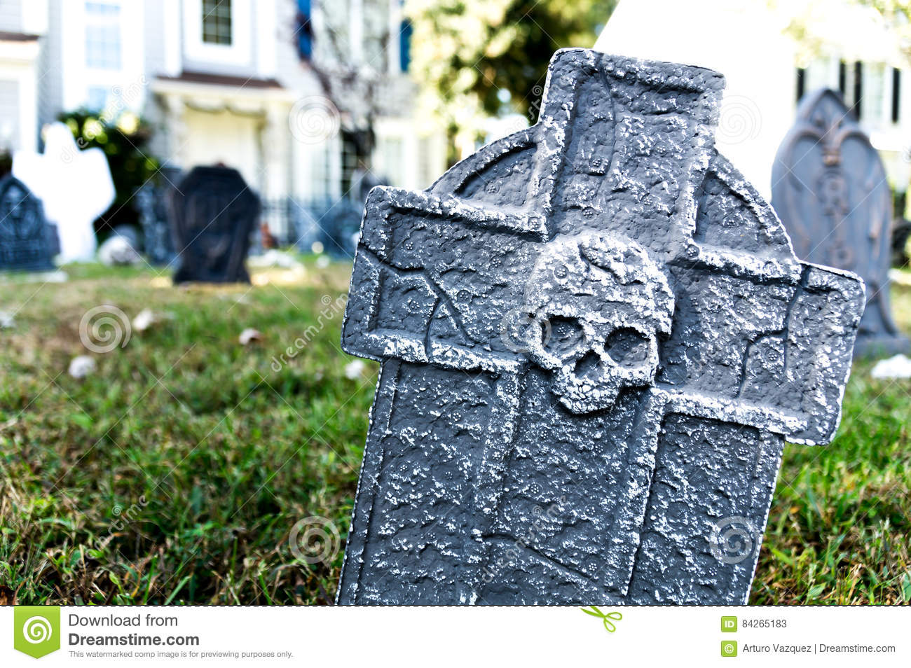 tombstone halloween yard decoration stock image - image of funeral