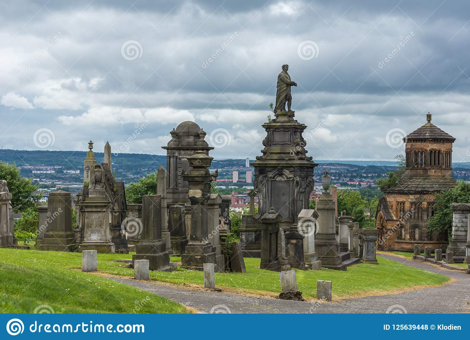 Tombstones on top of hill at Glasgow Necropolis, Scotland UK.