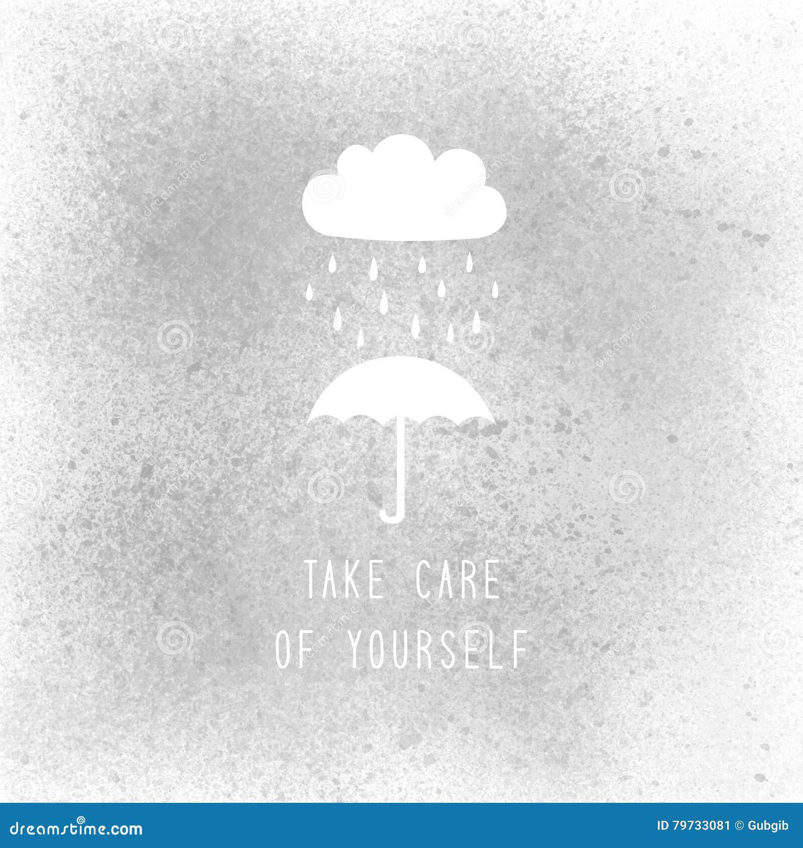 Tome a cuidado de sí mismo el texto en la pintura de espray gris