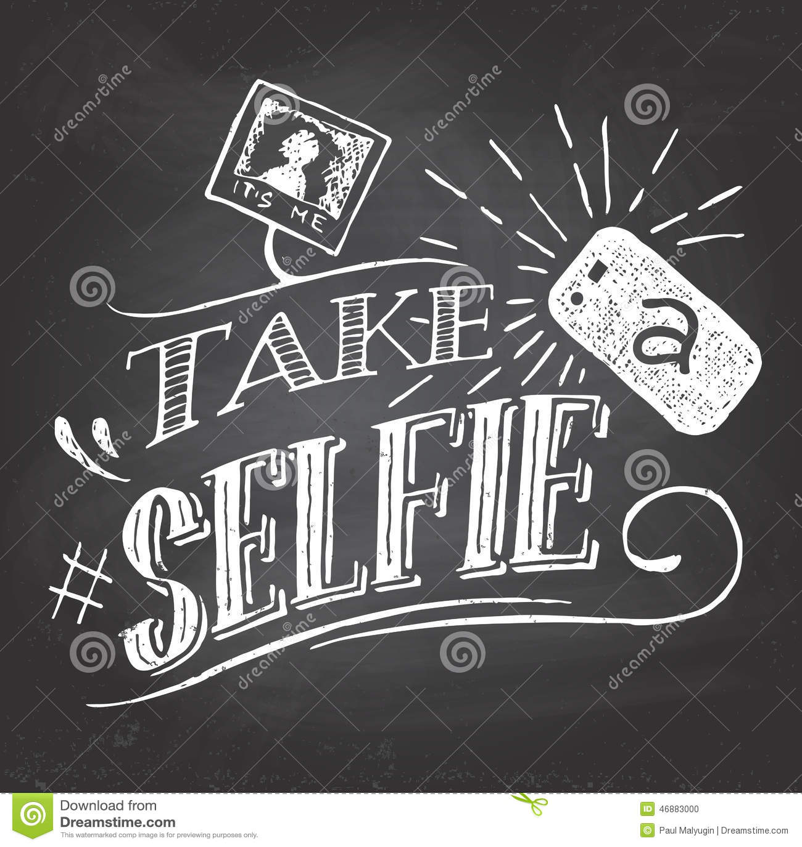 Tome un selfie en la pizarra