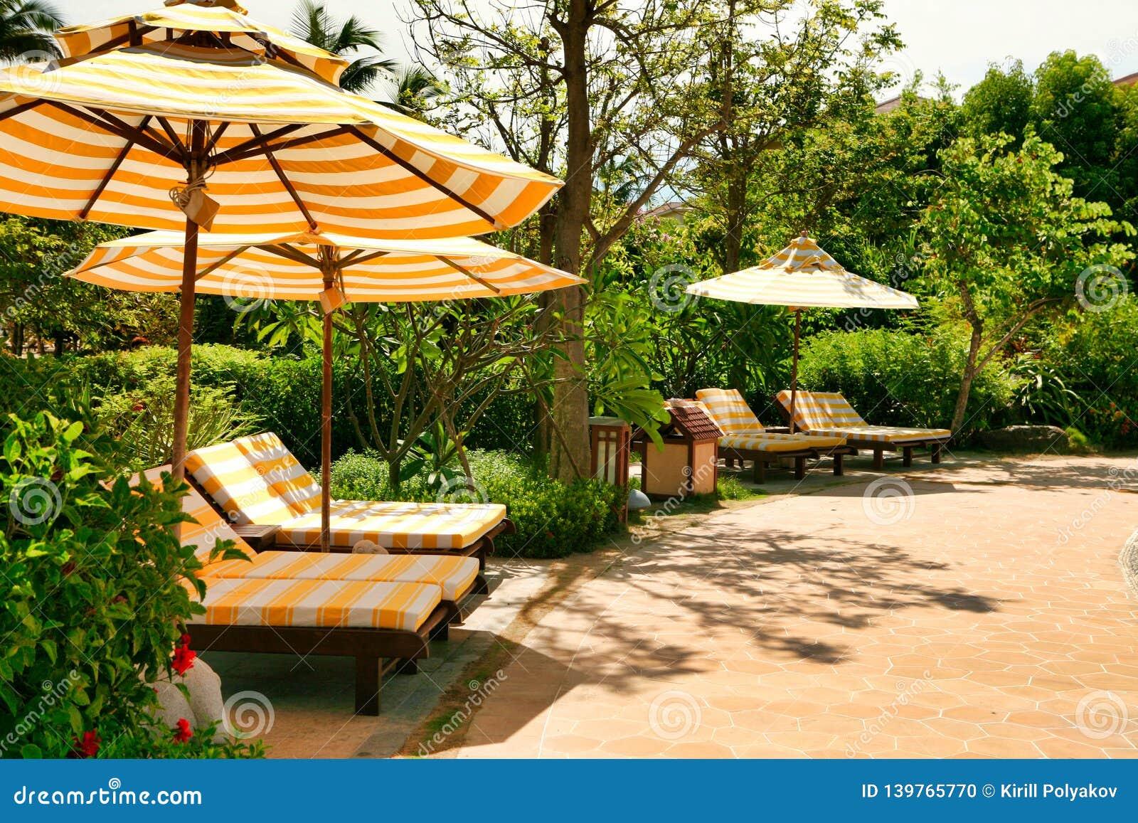 Tomma chaisevardagsrum med guling-vit randiga madrasser som står under ett solparaply med den samma modellen Sanya Hainan