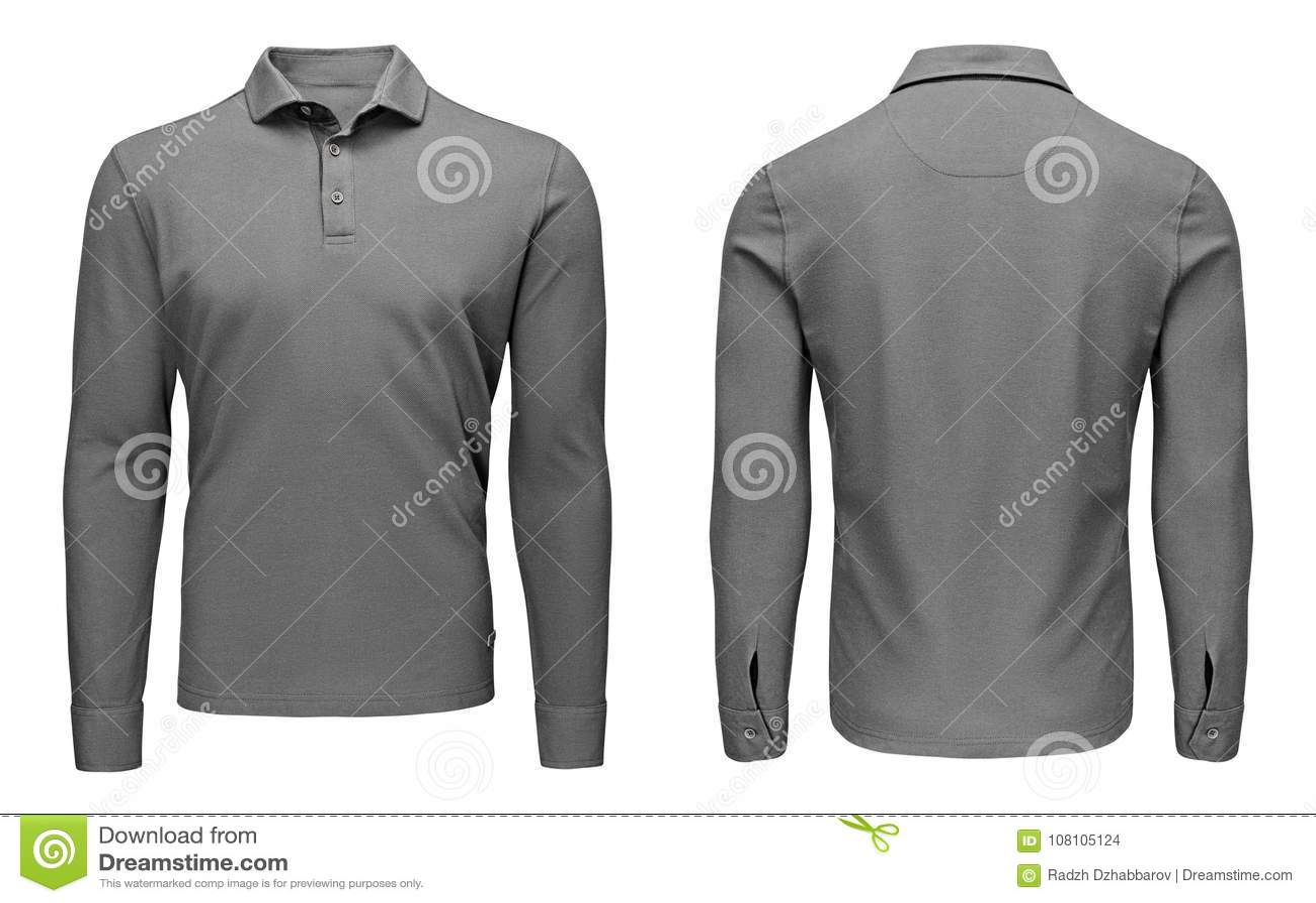 Tomma mallmäns grå sikt för muff, för framdel och för baksida för skjorta för polo lång, vit bakgrund Designtröjamodell för tryck