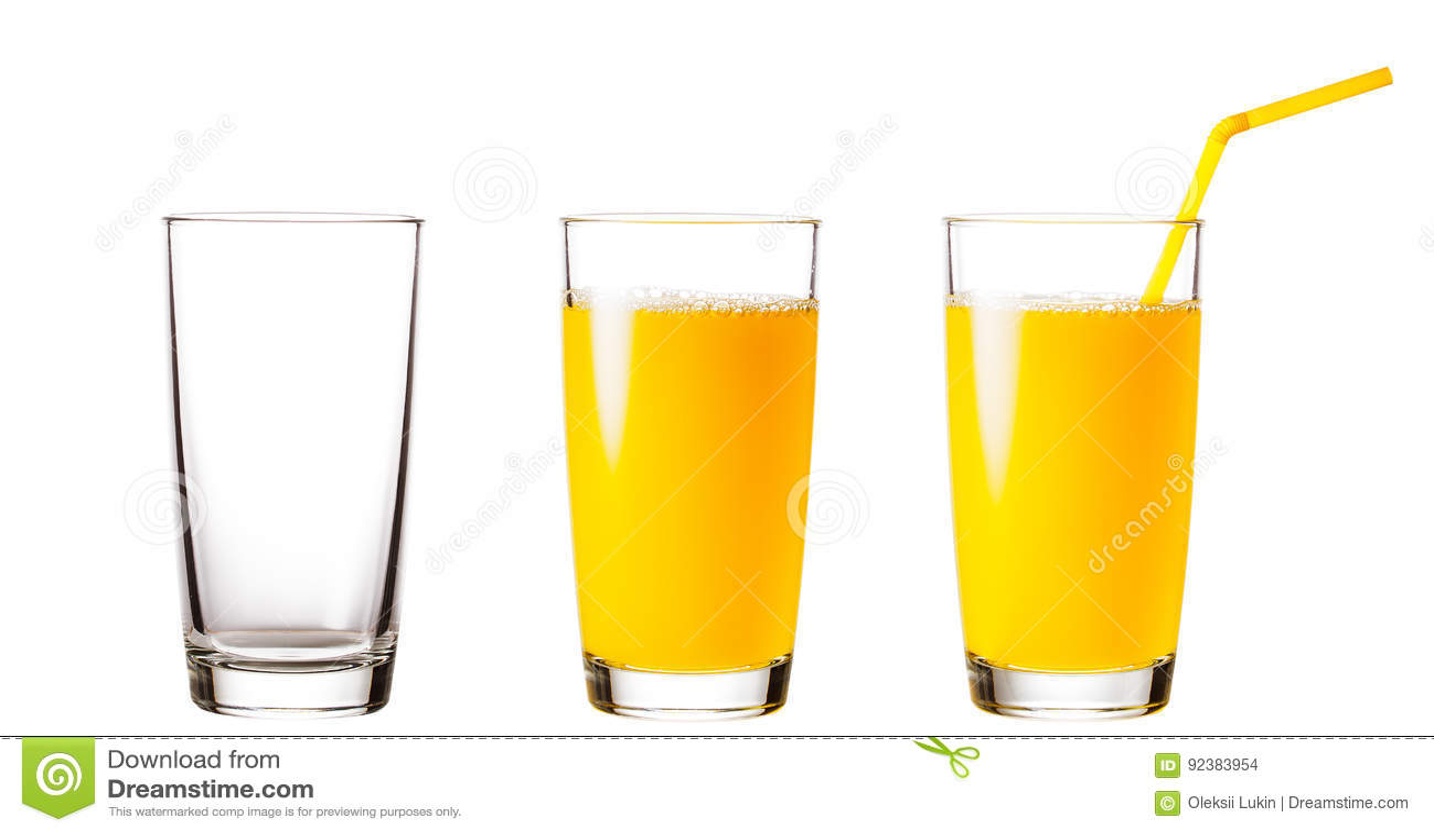 Tomma och fulla exponeringsglas med orange fruktsaft