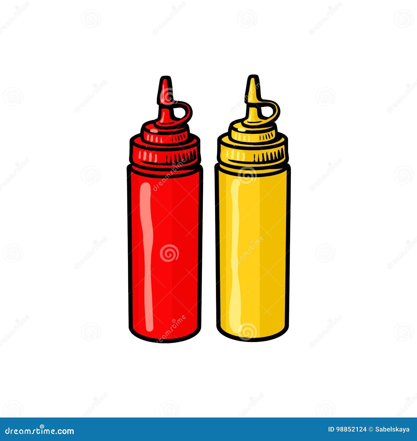 Tomma snabbmatflaskor av ketchup och senap