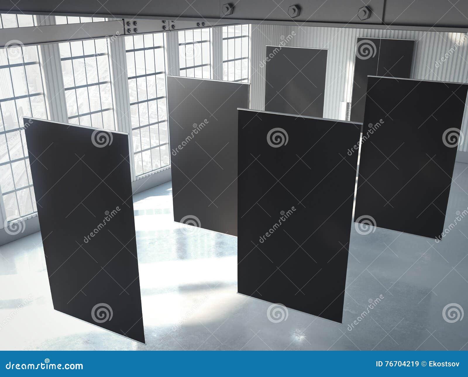 Tomma svarta baner i hangar framförande 3d