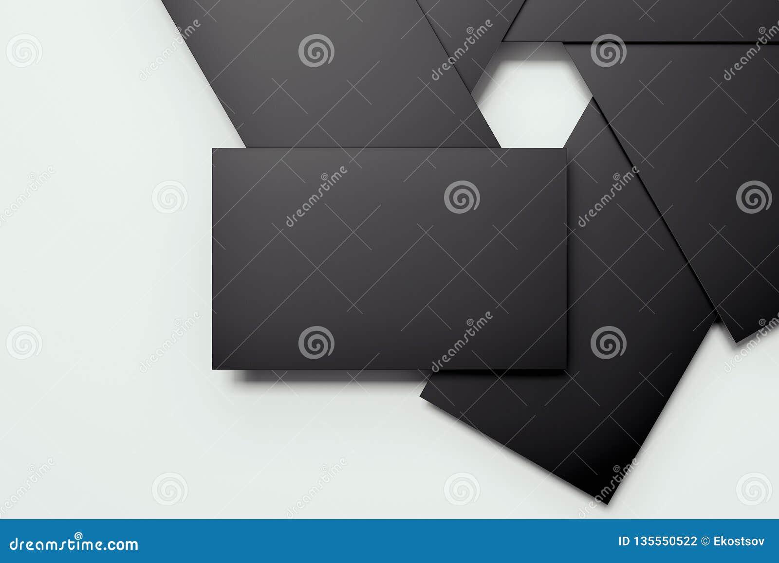 Tomma svarta kort ordnade in camera membranform, tolkningen 3d