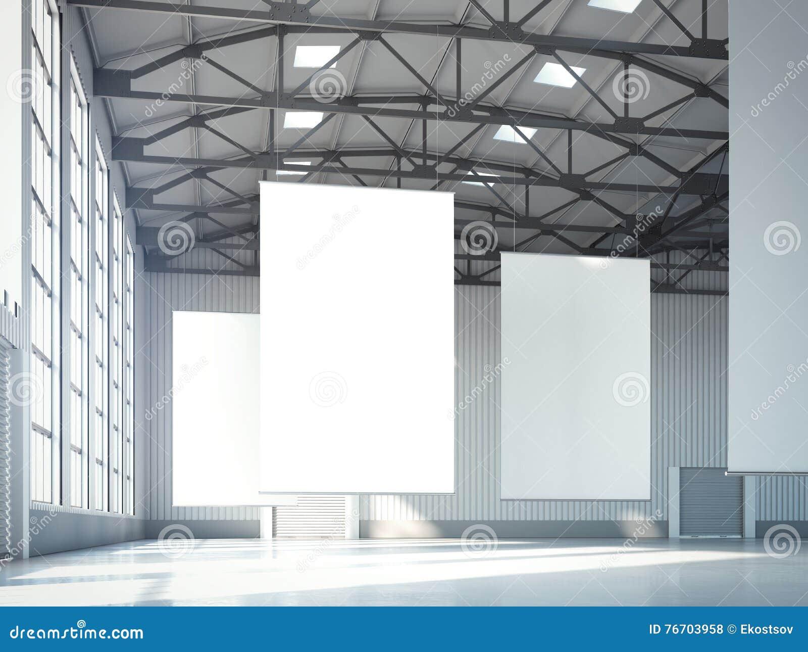 Tomma vita baner i hangar framförande 3d