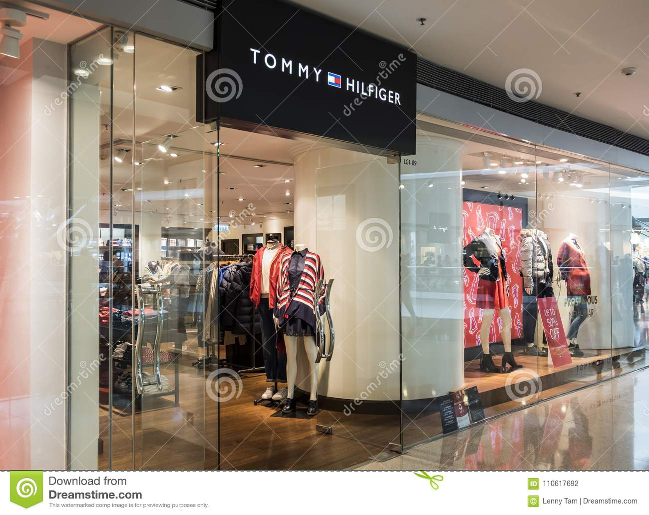 Tommy Hilfiger store in Hong Kong. Tommy Hilfiger corporation is an American  clothing company. bdab8c70a41