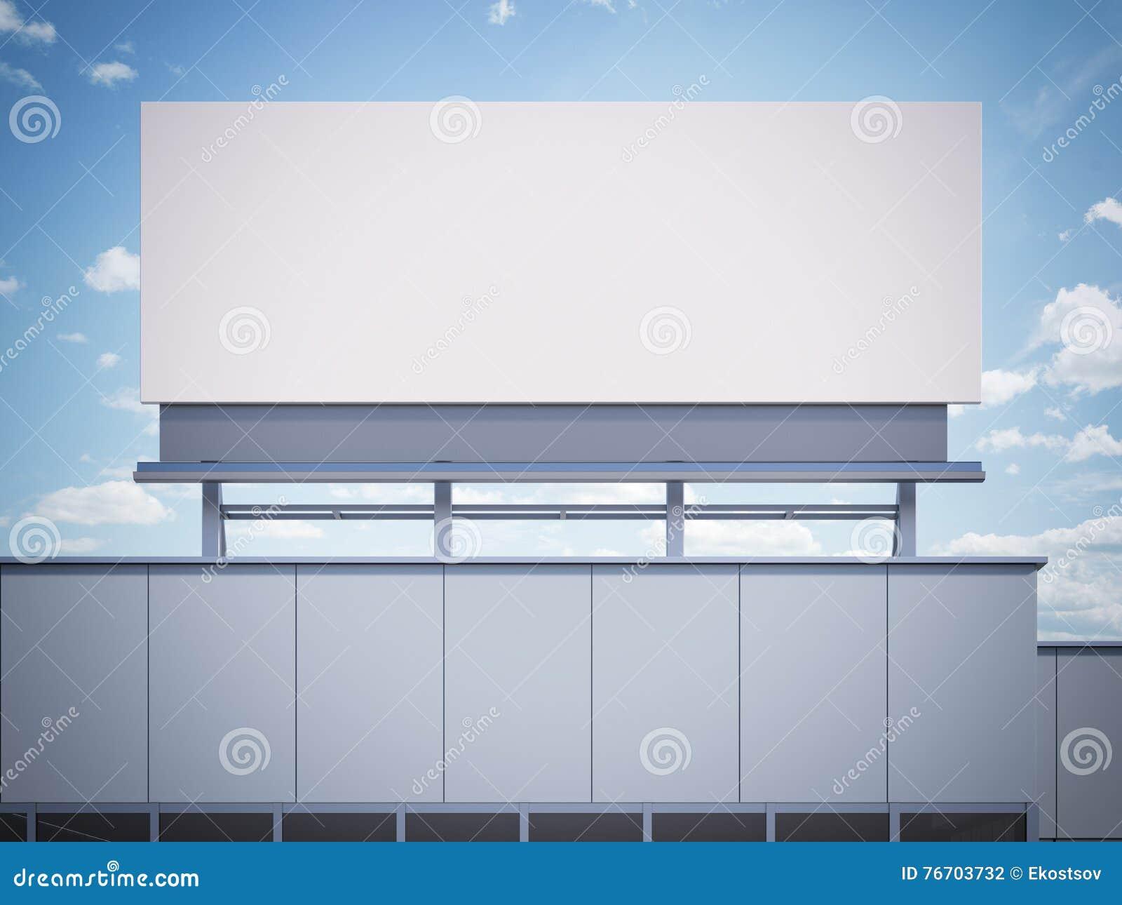 Tomt affischtavlaanseende på en kontorsbyggnad framförande 3d