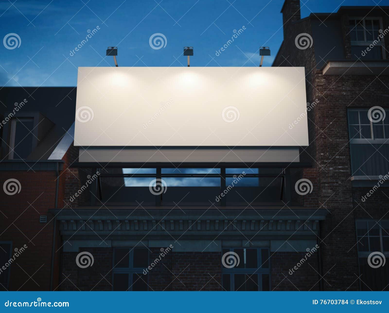 Tomt affischtavlaanseende på klassisk byggnad framförande 3d