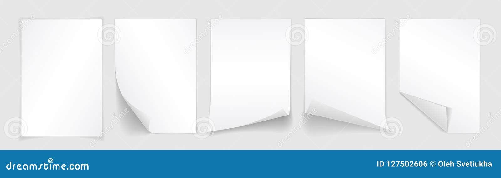 Tomt ark A4 av vitbok med det krullade hörnet och skugga, mall för din design Uppsättning också vektor för coreldrawillustration