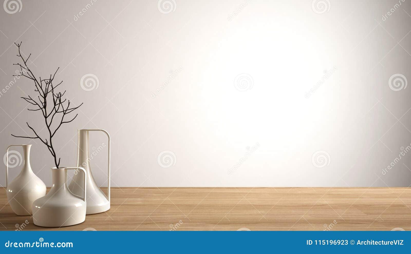 Tomt inredesignbegrepp, trätabell eller hylla med moderna minimalist vaser, vit arkitekturbakgrund