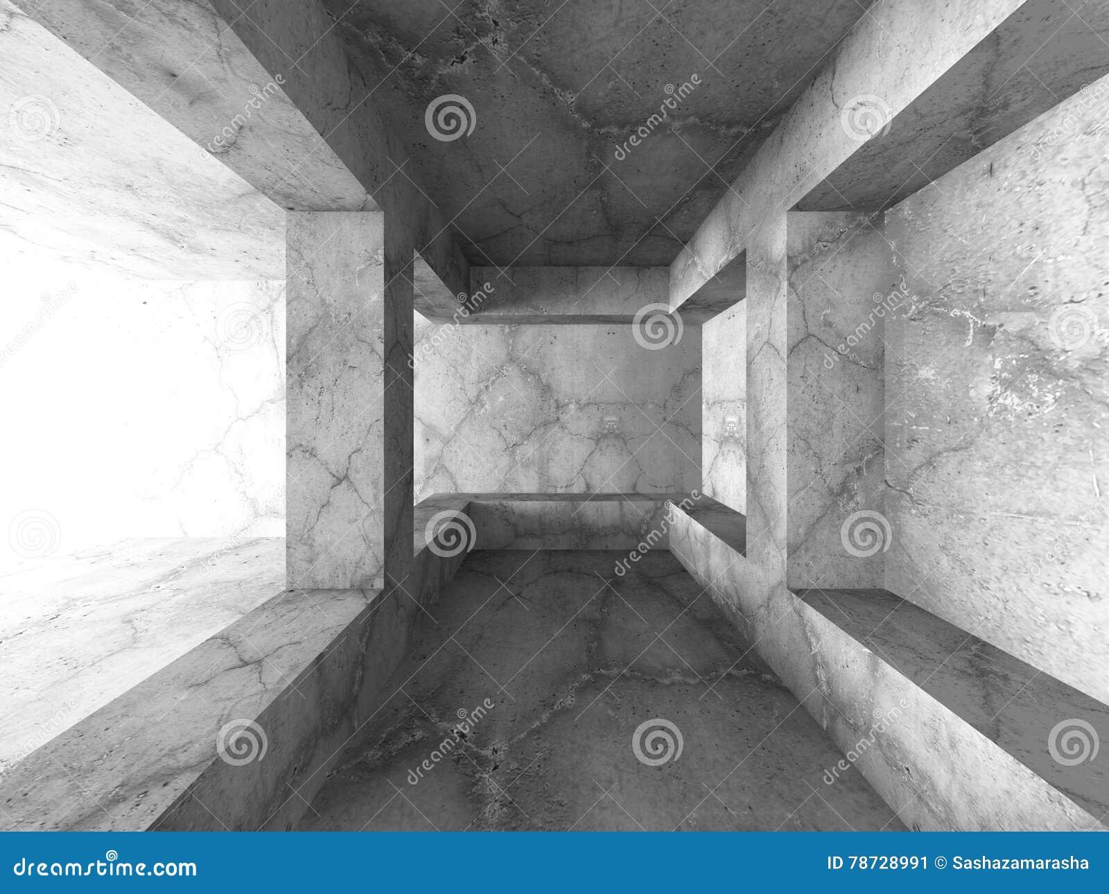 Tomt konkret mörkt källarerum med ljust ljus Architectur