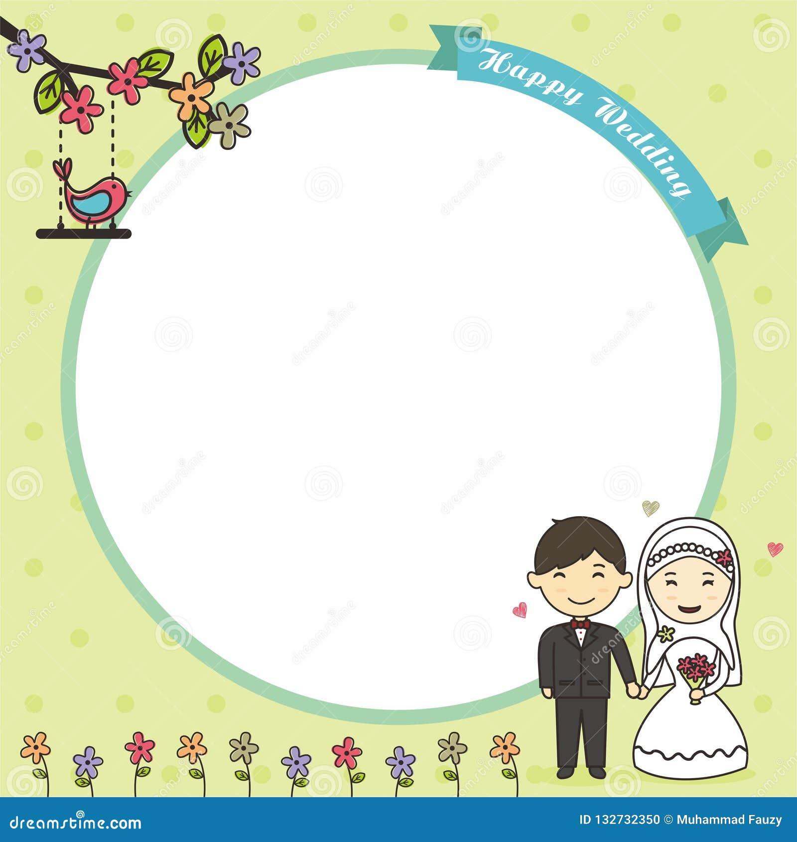 Tomt kort med den muslim bruden och brudgummen