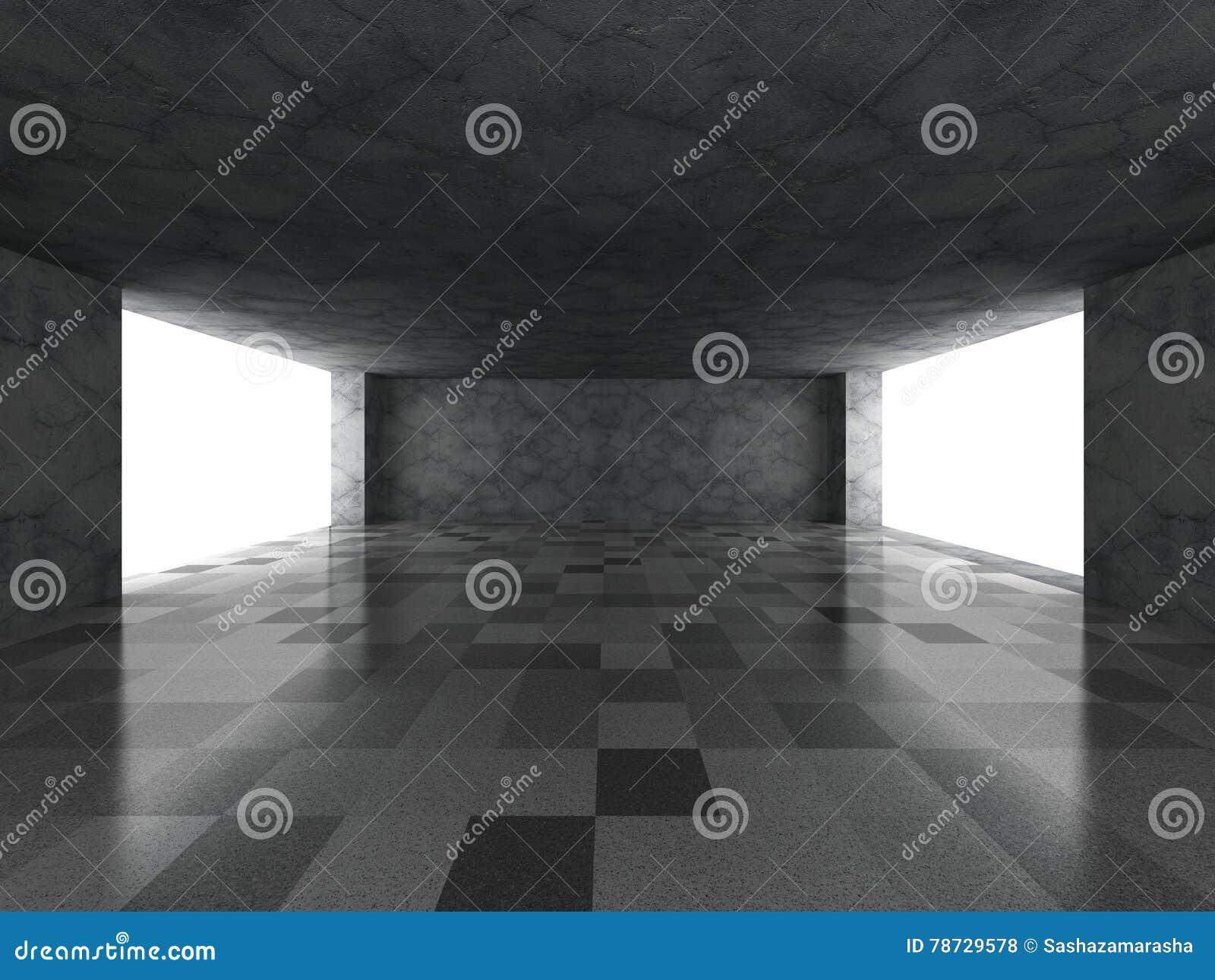 Tomt mörkerbetongrum med tegelplattagolvet Modern stads- arkitekt