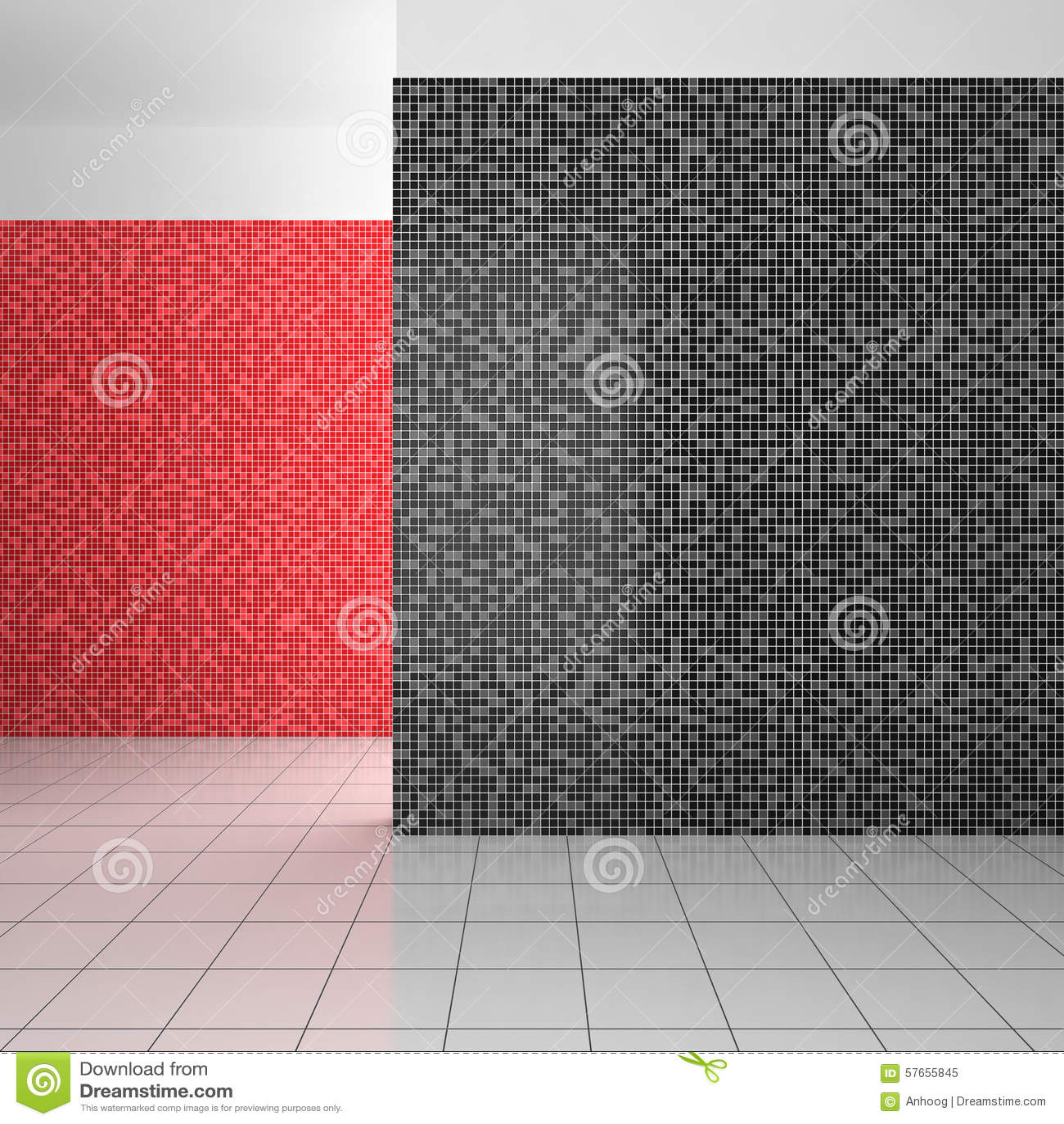 Tomt modernt badrum med vita och röda tegelplattor för svart,
