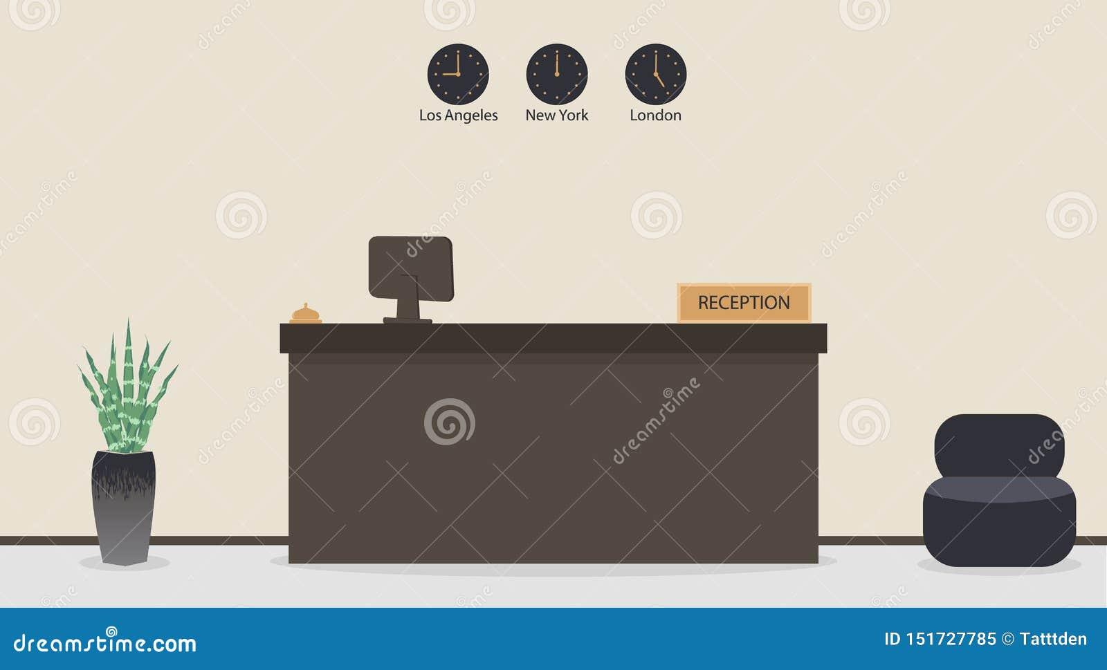 Tomt mottagandeskrivbord i hotellet eller banken, receptionistarbetsplats Väntande rum, korridor i affärskontoret, modern inre me