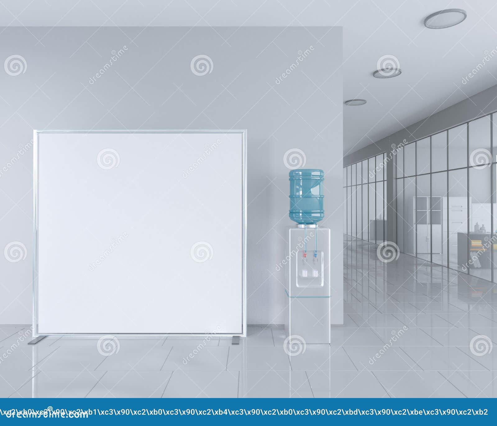 Tomt rulla upp banerställningen i ljus kontorsinre med den snabba banan runt om annonsställning illustration 3d