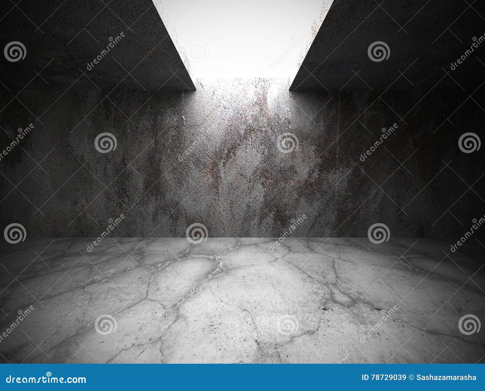 Tomt rum för konkret källare med ljus Arkitekturgrungebac