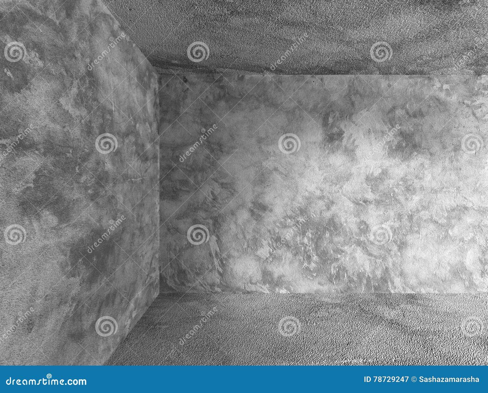 Tomt rum med betongväggar, golvet och taket