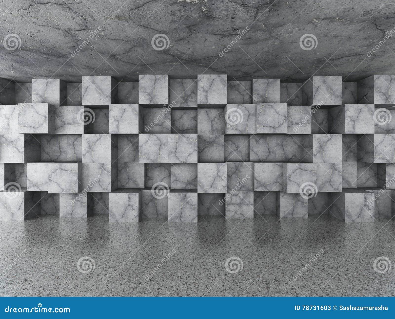 Tomt stads- rum med kaotiska konkreta kuber belägger med tegel väggen Architec