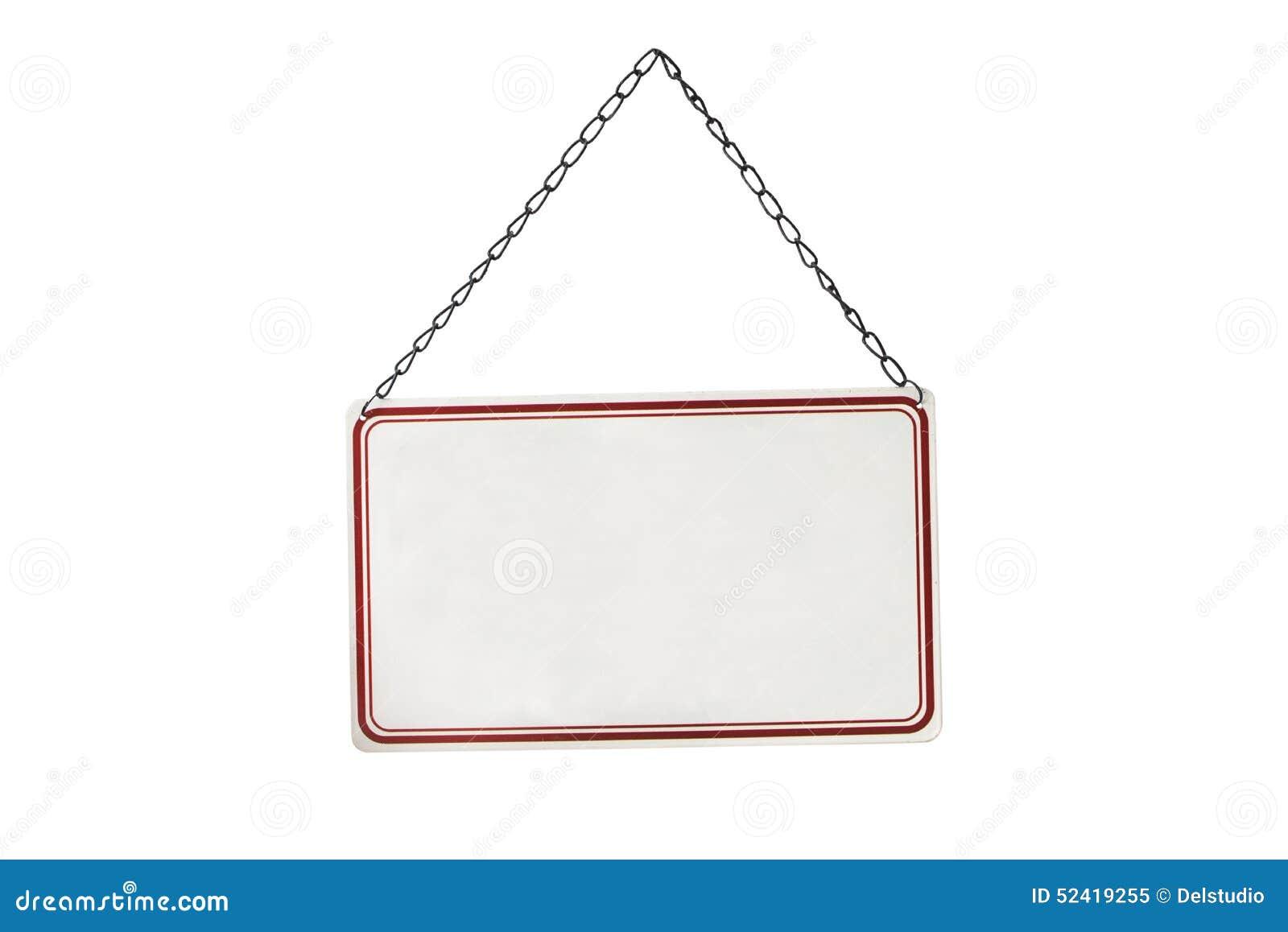 Tomt tecken för metall som hänger på en kedja