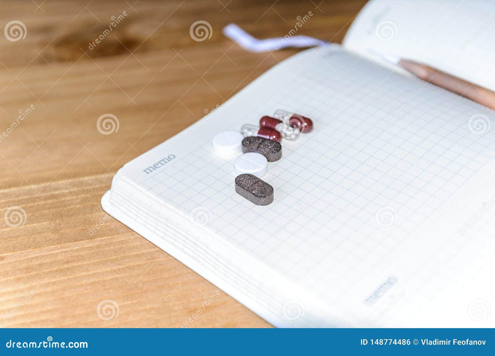Tomt utrymme f?r din text p? ett ark av anteckningsboken eller dagboken Medicinsk bakgrund med kul?ra minnestavlor, minnestavlor