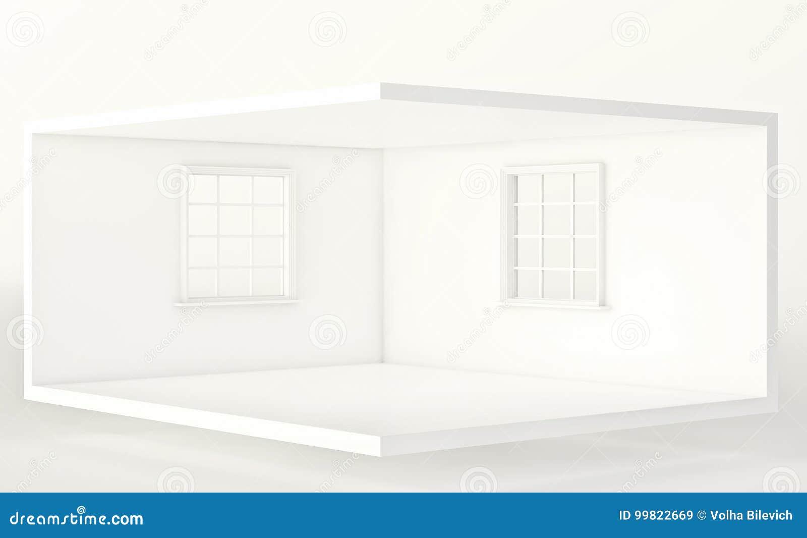 Tomt vitt rum med två fönster, inre för design och garnering 3d framför