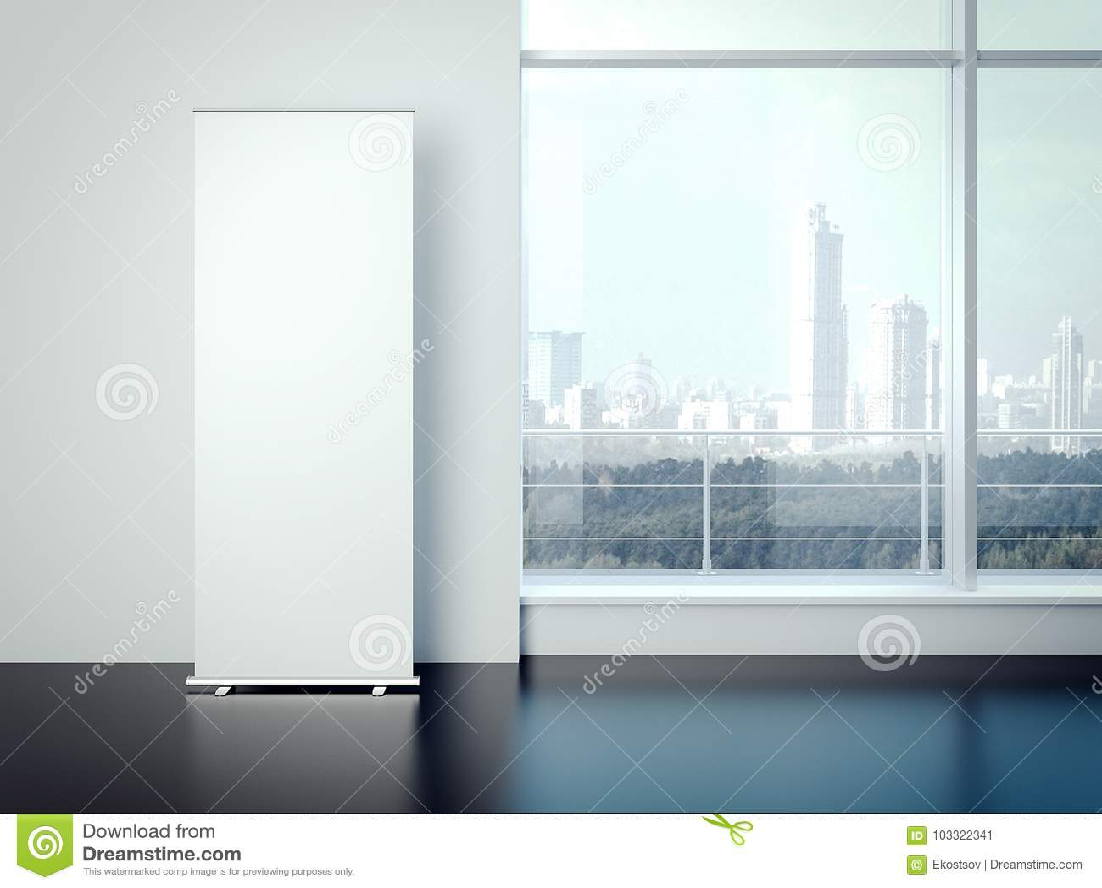 Tomt vitt vertikalt baner i kontorsinre framförande 3d