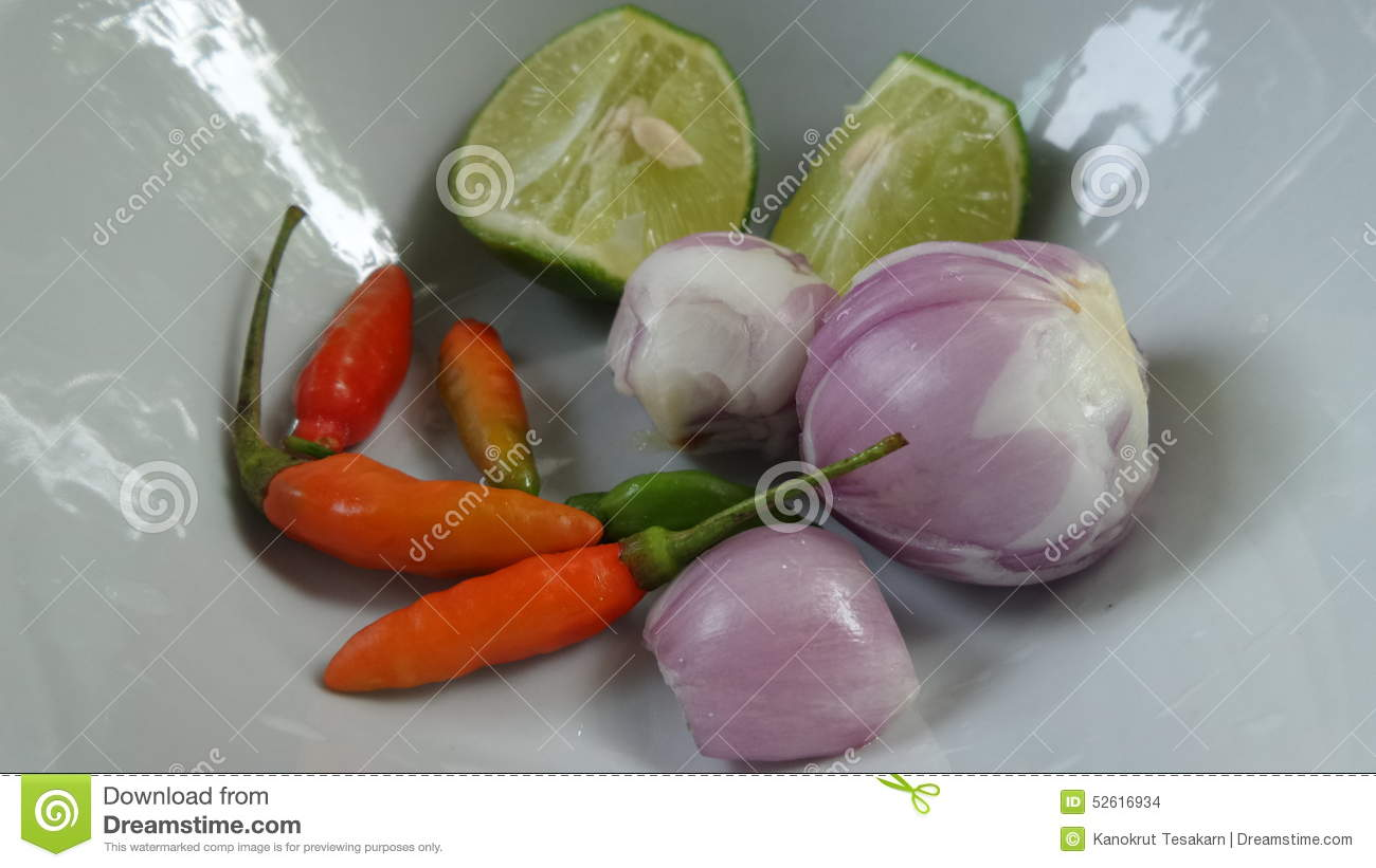 Tomyam Soup Red Bird Chilli Shallot And Fresh Lime Stock Photo - Image ...
