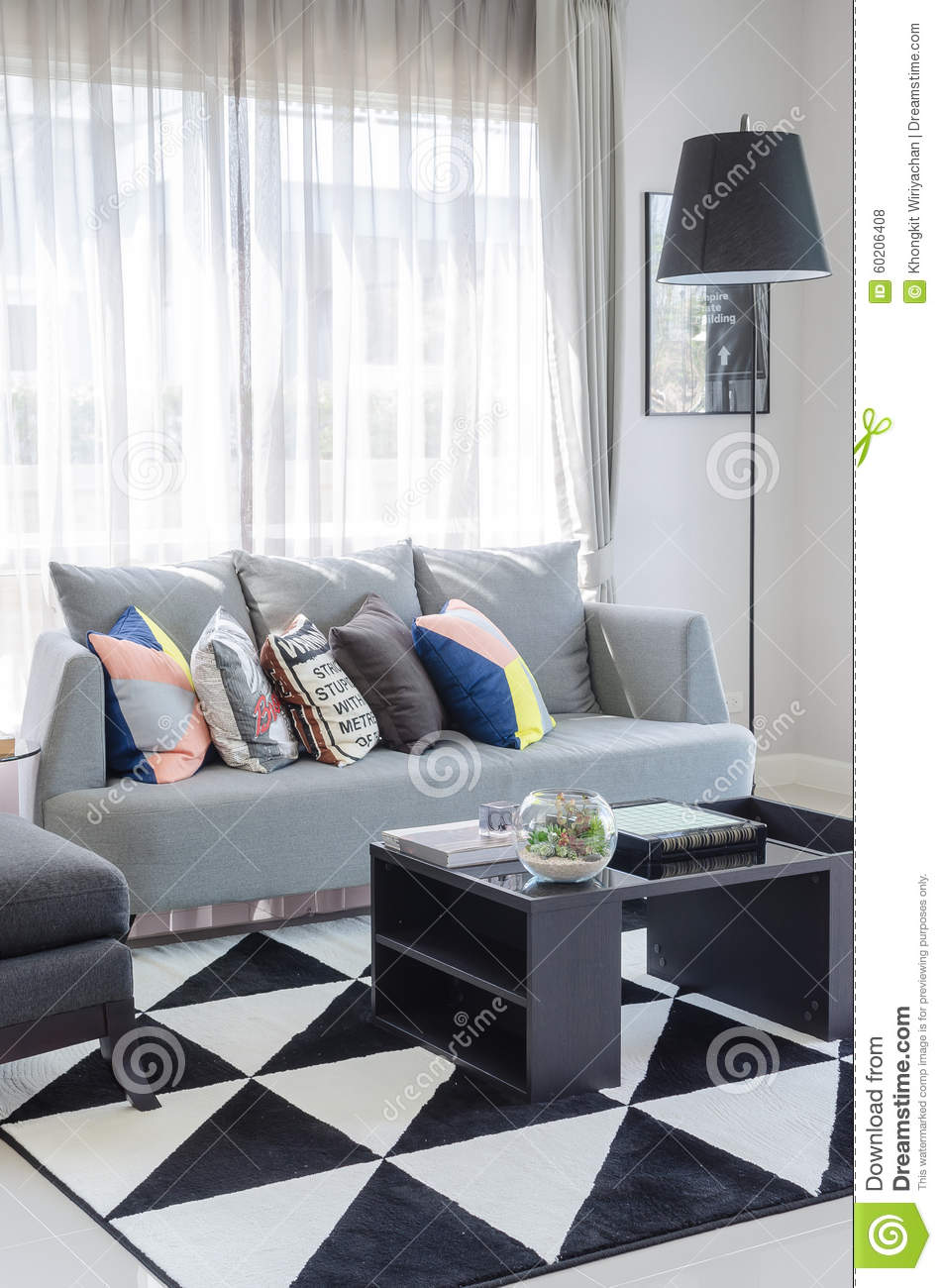 ton noir et blanc de couleur de salon avec le sofa gris moderne photo stock image du. Black Bedroom Furniture Sets. Home Design Ideas