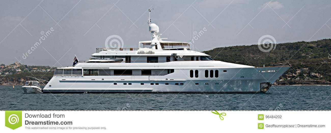 A 90 ton plus, luxury cruising motor Super Yacht at anchor in Sy