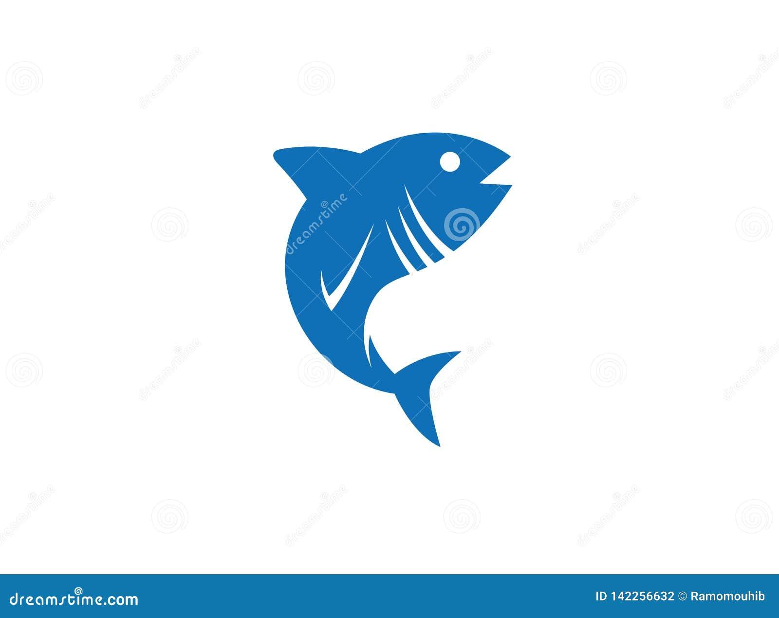 Tona azul para o ícone dos peixes da ilustração do projeto do logotipo