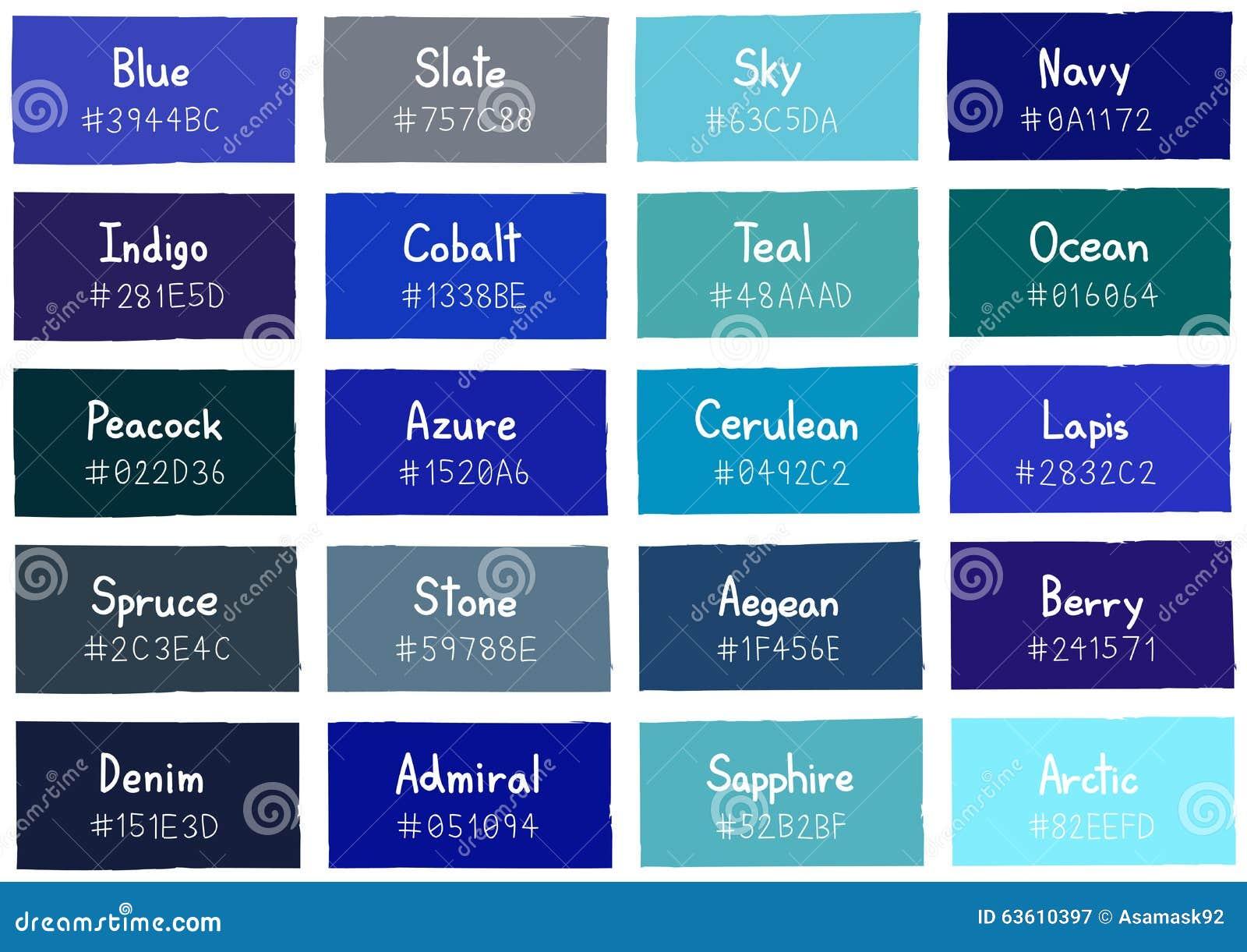 Tone color shade background azul con c digo y nombre ilustraci n del vector ilustraci n de - Gamas de colores azules ...