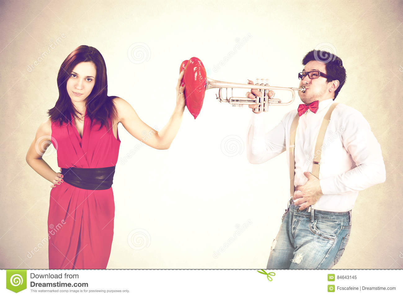 Tone-deaf Musician Courting Persistently A Pretty Woman Stock Image