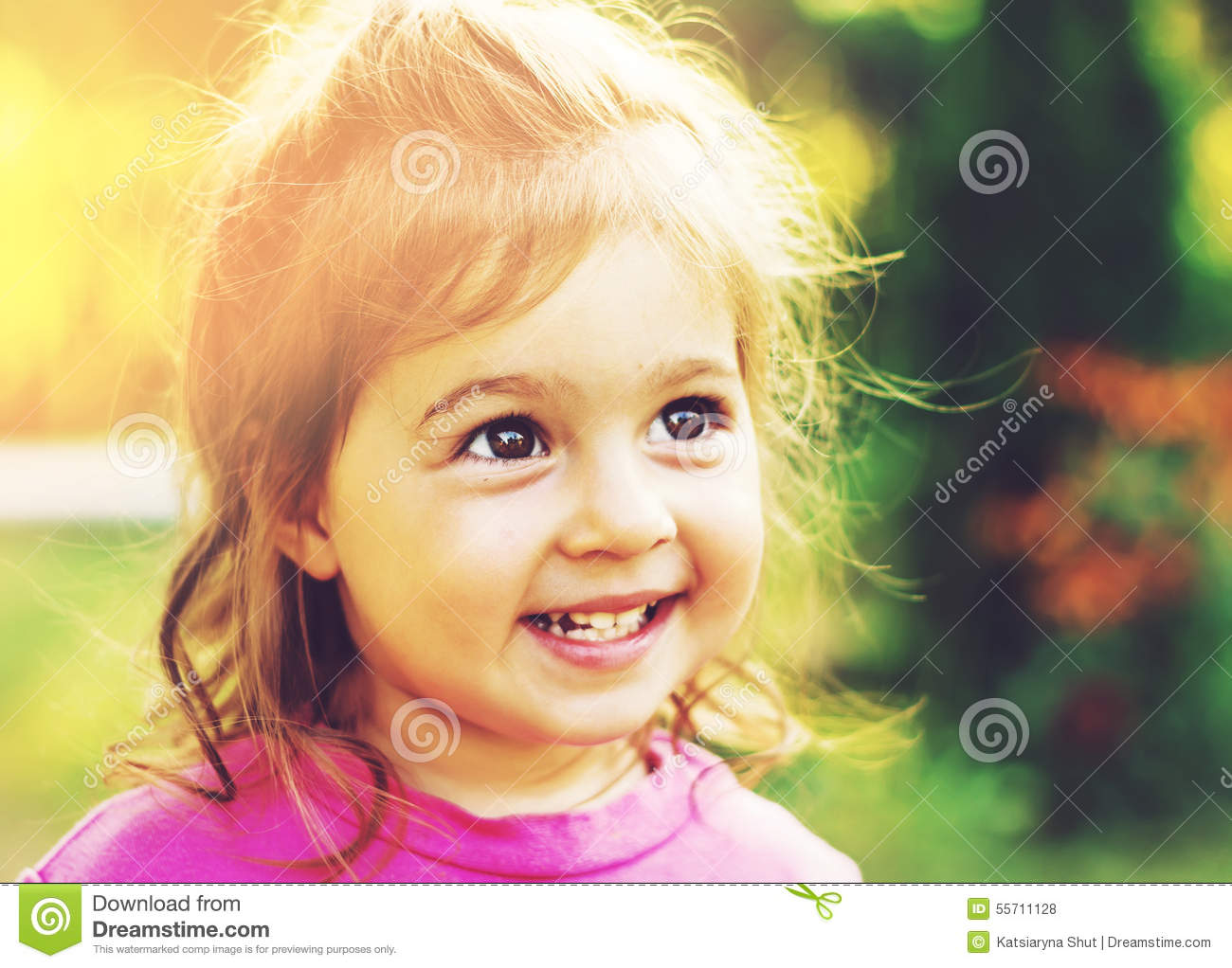 197cbcf9e8bf Toned Portrait Of Cute Little Girl Smiling In Sunny Summer Day Stock ...