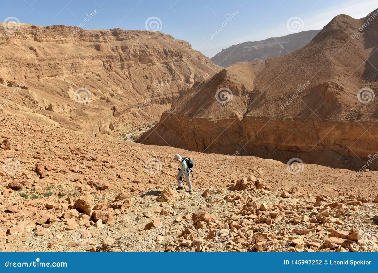 Toneel wandeling in Judea-woestijnberg