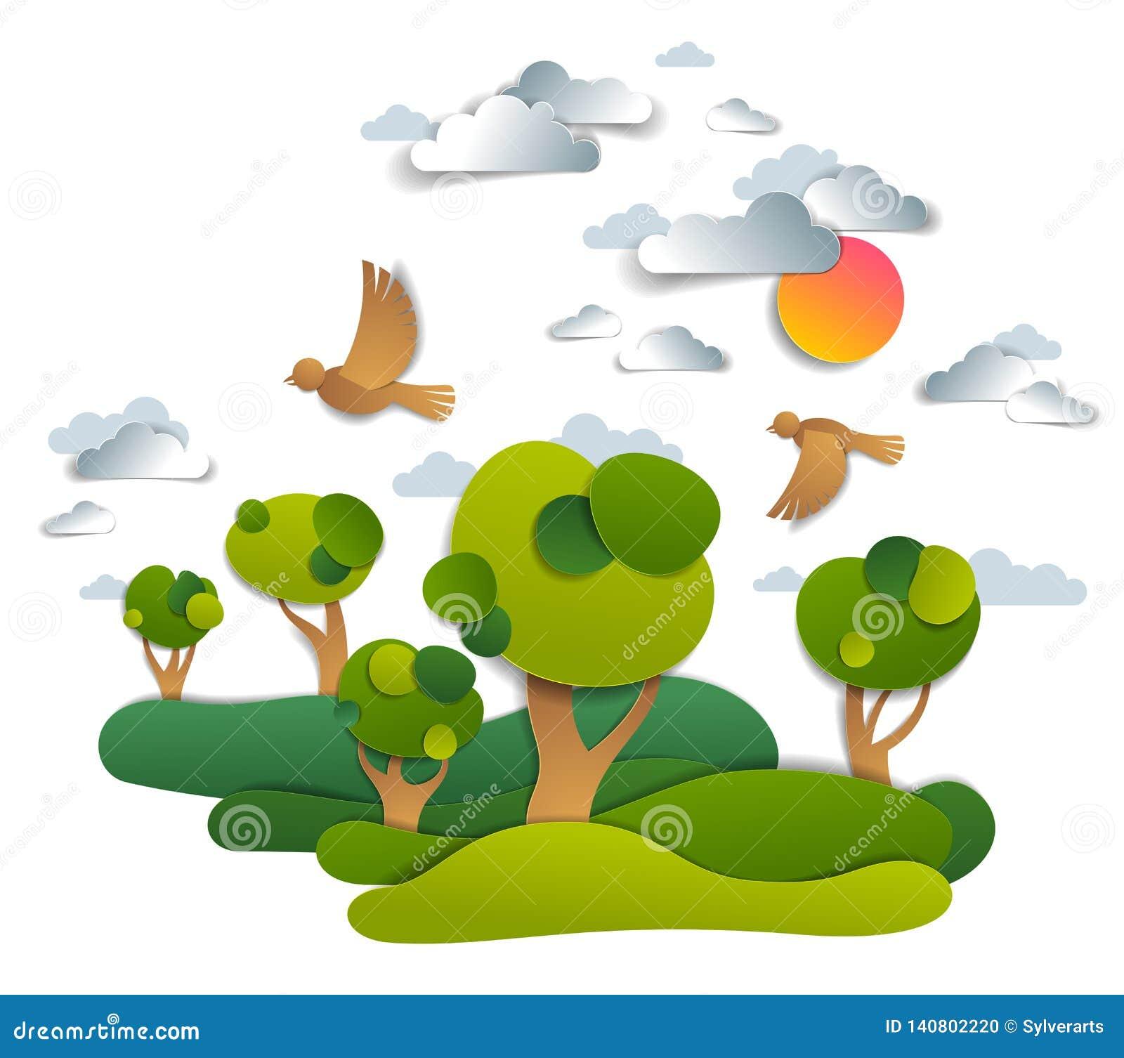Toneellandschap van weiden en bomen, bewolkte hemel met vogels en zon, de zomergebieden en weiden vectorillustratie in document
