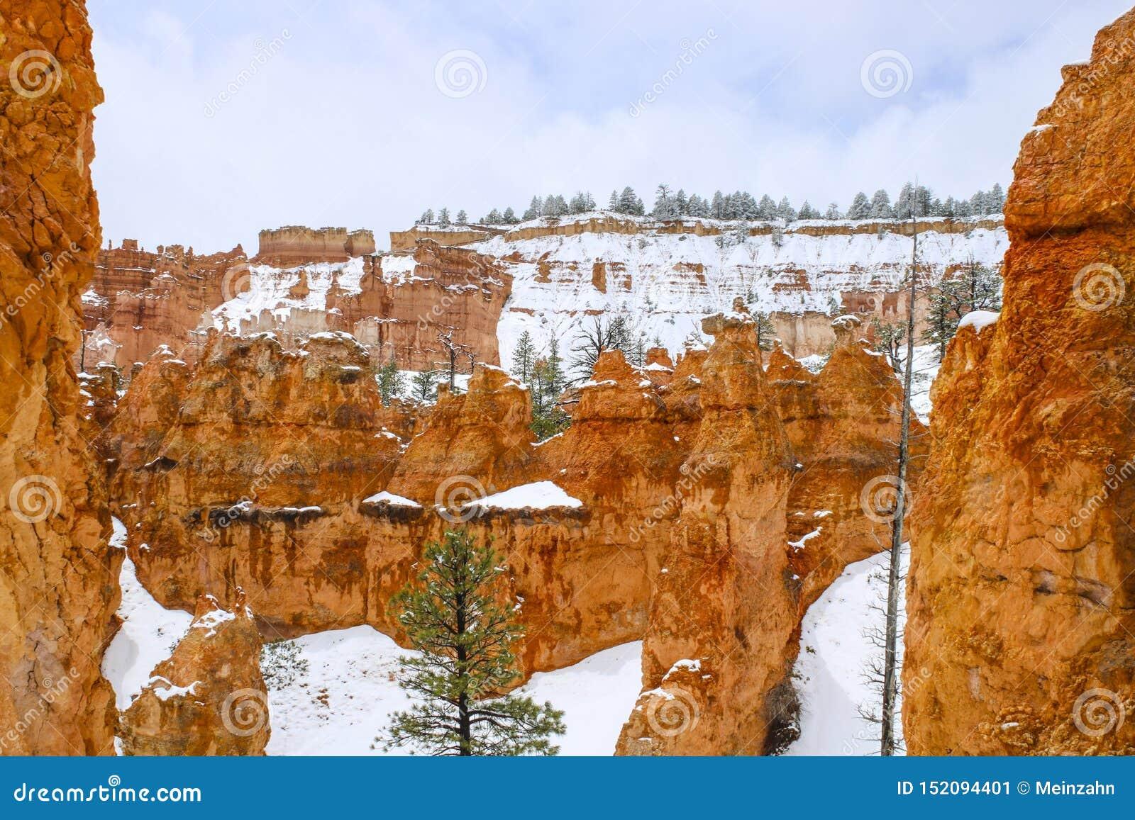 Toneelongeluksboden in Bryce-canion nationaal park met sneeuw