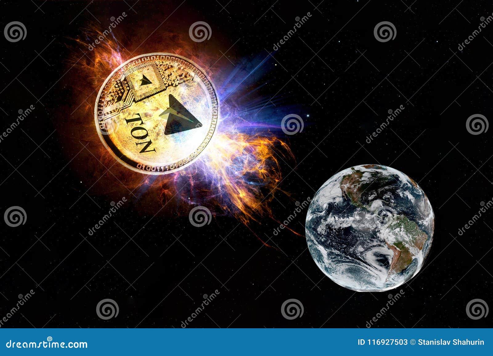 TONELADA de Cryptocurrency del telegrama La moneda de oro de la TONELADA baja a la tierra de la tierra del espacio y del ataque